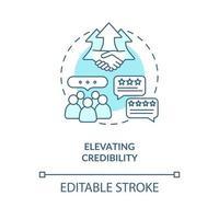 elevar la credibilidad concepto icono azul vector