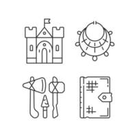 Antiquities excavation linear icons set vector