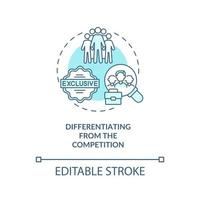 Differentiating from competition blue concept icon vector