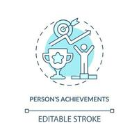 Person achievements blue concept icon vector