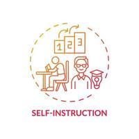 autoinstrucción icono de concepto degradado rojo vector