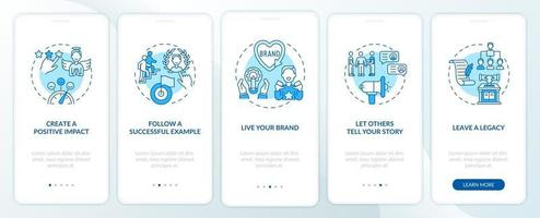 Personal branding tips blue onboarding mobile app page screen with concepts vector