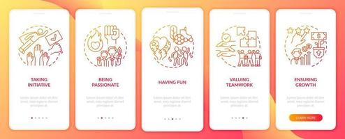 Main corporate core beliefs onboarding mobile app page screen with concepts vector