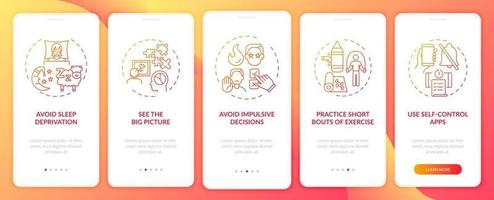 Self control boosting tips red onboarding mobile app page screen with concepts vector