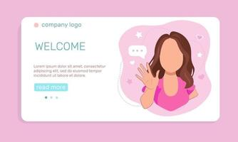 A young  girl waving hand, greeting people.  Landing page template. Vector illustration in flat style.