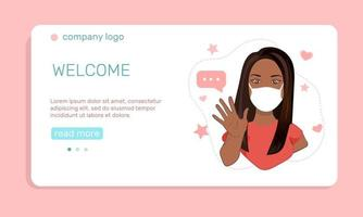 A young  girl in medical face mask  waving hand landing page template vector illustration in flat style