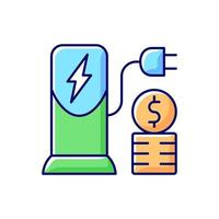 Charging cost RGB color icon vector