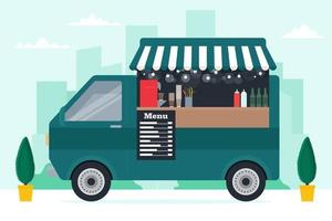 Small food truck with cute modern interior on street background vector