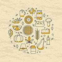 Thanksgiving outline icon in in the form of a round card vector