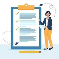 Woman is standing near large to do list vector