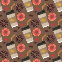 Seamless pattern with coffee paper cup and donuts vector