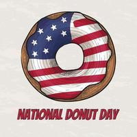 Glazed donut with the flag of the USA vector