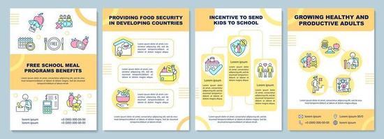 Free school meal programs benefits brochure template vector