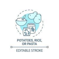 patatas o arroz o icono de concepto de pasta vector