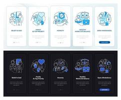 Intimate values onboarding mobile app page screen with concepts vector