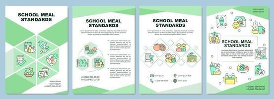 School meal standards brochure template vector