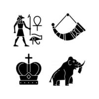 Ancestors heritage black glyph icons set on white space vector