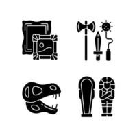 Archaeological excavation black glyph icons set on white space vector