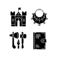 Antiquities excavation black glyph icons set on white space vector