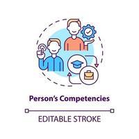 Person competencies concept icon vector