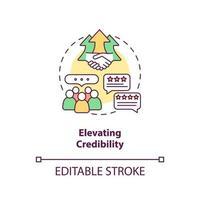 elevar el icono del concepto de credibilidad vector