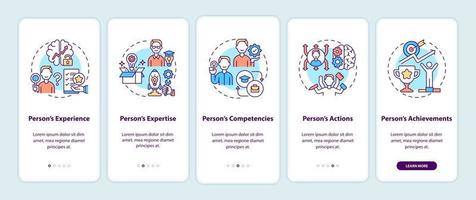 Personal brand components onboarding mobile app page screen with concepts vector
