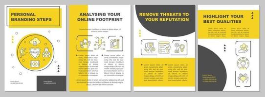 Personal branding strategy tips brochure template vector