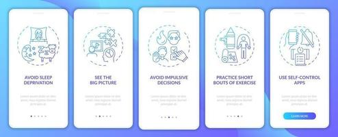 Self control boosting tips navy onboarding mobile app page screen with conceptss vector