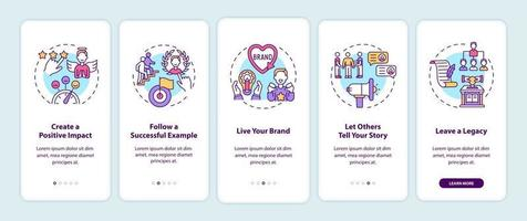 Personal branding tips onboarding mobile app page screen with concepts vector