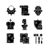 Museum exhibitions black glyph icons set on white space vector