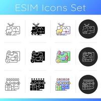 Broadcast services icons set vector