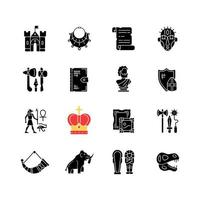 Heritage and museum black glyph icons set on white space vector