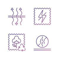 Textile qualities gradient linear vector icons set