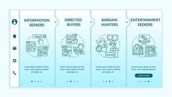 Online consumer behavior onboarding vector template