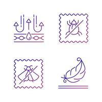 Conjunto de iconos de vector lineal degradado de características de calidad de tela