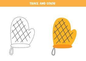 Trace and color kitchen potholder Worksheet for kids vector