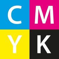 Fondo de muestra de color cmyk de vector simple con color cian magenta amarillo y negro