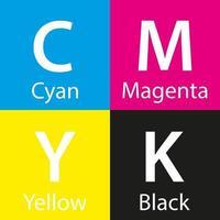 Muestra de color cmyk de vector simple con fondo de nombre de color con color cian magenta amarillo y negro