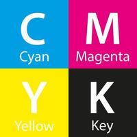 Muestra de color cmyk vectorial simple con fondo de nombre de color con clave y amarillo cian magenta vector