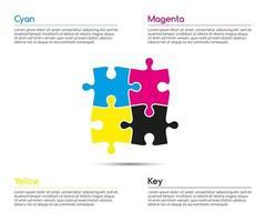 Plantilla de infografía minimalista con cuatro piezas de rompecabezas en colores CMYK para la ilustración de vector de su proyecto empresarial