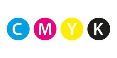 Concepto de impresión cmyk cuatro círculos en colores cmyk cian magenta amarillo clave negro aislado sobre fondo blanco. vector