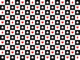 Seamless abstract vector poker background with playing cards signs red and white symbols on white and black squares casino symbols