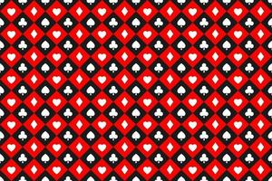 Seamless abstract vector poker background with playing cards signs white symbols squares on red and black squares casino symbols