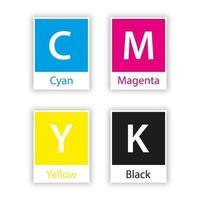 Muestra separada en color cmyk con nombre de color aislado sobre fondo blanco cian magenta amarillo negro clave vector