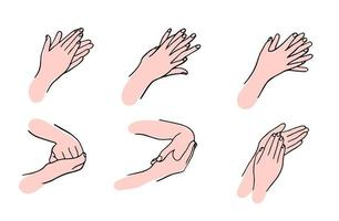 How to clean your hands properly. Rules for Disinfection and hand washing. The hygienic and medical treatment of an infection. Hand-drawn vector illustration in the Doodle style.