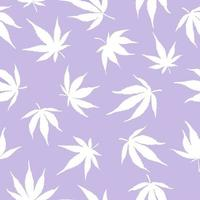 Seamless pattern of white cannabis leaves on a green background. White hemp leaves on a blue background. Vector illustration. Cannabis