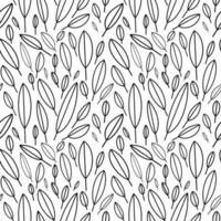 Seamless pattern in Scandinavian style. White leaves on a black background. Minimalistic and modern design for fabric, paper, printing. vector illustration. hand drawn vector illustration.