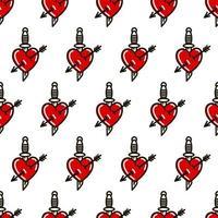 corazón con daga al estilo del tatuaje de la vieja escuela de patrones sin fisuras. ilustración vectorial en estilo doodle. diseño para textiles, papel, envoltorios vector