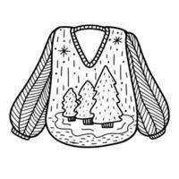 Knitted sweater with a Christmas pattern.Winter clothes. Vector illustration in Doodle style