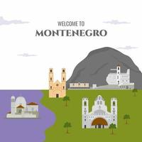 Welcome To Montenegro country design template with famous building landmarks vector